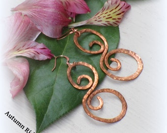 Hammered S-Curl Copper Wire Earrings