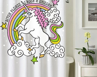 Custom Shower Curtain, Unicorn Shower Curtain, Funny Shower Curtain,  Rainbow Curtain, Rainbow