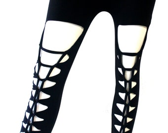 Superstretchy Rocker leggings leggings pants tights Ripped shredded black custom/ONE SIZE