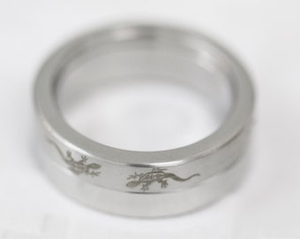 Size: Z + 1 (US Size 13) Stainless Steel Band Ring, Men's Steel Band, Gent's Steel Band, Lizard Dress Ring