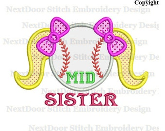 Baseball mid sister embroidery design, sisters  machine embroidery applique instant download,  fl-002