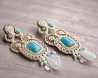 Soutache dangle earrings, Beige, white and blue earrings with amazonite, Embroidered earrings, Beaded earrings, Jewelry FREE SHIPPING