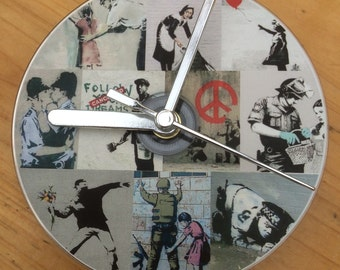 Banksy Art Compilation CD Clock (Can Be Personalised)