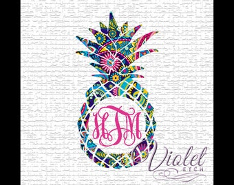 Pineapple Monogram-Yeti Decal-Pineapple Decal-Pineapple Monogram Decal-Lilly-Window Decal-Laptop Decal