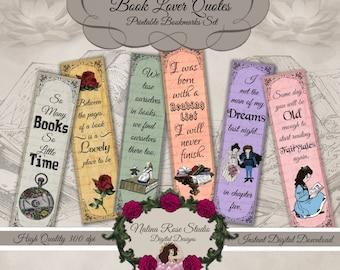 Set of 6 Printable Bookmarks/Book Quotes ~  DIGITAL DOWNLOAD PRINTABLE
