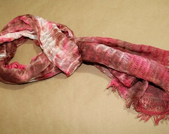 Breezy Scarf Tie-Dyed woven 100% cotton - Brown & Pink