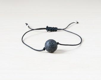 Sale - Diffuser bracelet, black lava bracelet, essential oils bracelet, dainty bracelet, black bracelet, thread bracelet, lava bracelet