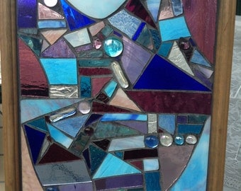 "Abstract Stained Glass Mosaic Window Wall Hanging ""The Moment"""
