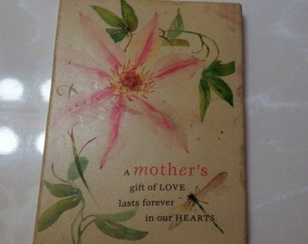 Mother's Day Gift of LOVE Lasts Forever in our Hearts Wall Plaque Ceramic Vintage