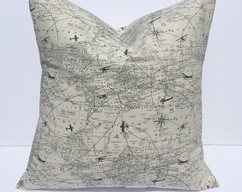 Decorative pillow throw pillow accent pillow cover couch pillow cover home decor tan black pillow cover map pillow cover travel pillow cover