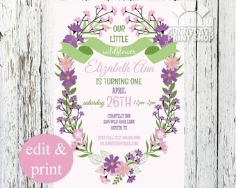Wildflower First Birthday Invitation, 1st Birthday Party Invite,Pink Flower Wreath,2nd Birthday, 3rd Birthday, INSTANT DOWNLOAD DIY