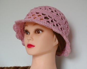 Pink Crochet 100% Cotton Hat Handmade