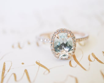 Oval Aquamarine Diamond, Halo Engagement Ring, Aquamarine, Diamond, Rose Gold, Halo Diamond