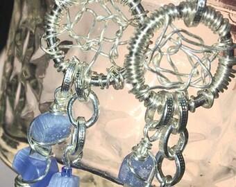 Handmade Genuine Blue Sapphire Cat Eye Dream Catcher Healing Earrings jewelry
