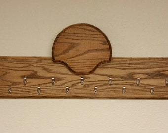 Turkey tail/beard/spur taxidermy plaque display panel. Solid oak