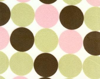 Big Velour Circles Pink Brown Green on White Background