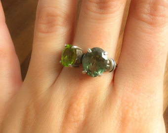 Green Ring, Green Stone Ring, Emerald Green Ring, Peridot Green Ring, Matching Set, Solid Silver Ring, Sterling Silver Ring
