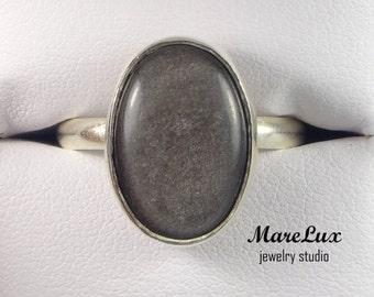 Silver Sheen Obsidian Crystal Silver Ring, Bezel Sterling Ring, Obsidian Ring, Gemstone Ring,  Sterling Silver Obsidian Ring, Gray Ring