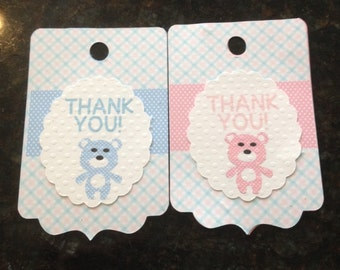 THANK YOU TAGS, twins, Set of 12, girl and boy