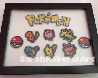 Pokemon framed cross stitch