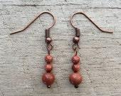 Goldstone Dangle Earrings, Beaded Dangle Earrings, Goldstone Earrings, Rustic Modern Jewelry, FREE SHIPPING U.S.
