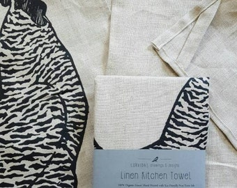 Linen dish towel, Chicken linen kitchen towels, hand printed linen towel