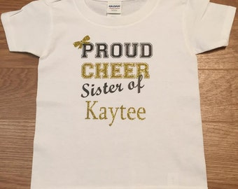 Proud Cheer Sister Personalized with Name of Cheerleader. Cheer Sister. Cheer Mom. Cheer Family.