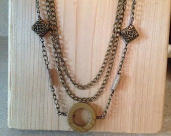 Wood and Glass Beads Necklace