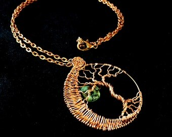 Tree of Life Moon Necklace, Copper Tree Moon Necklace, Copper Wire Tree Pendant, Tree of Life Moon Necklace, Copper Wire Weave Necklace