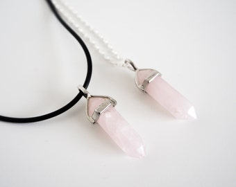 Rose Quartz Healing Point Necklace