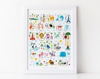 Printable Alphabet, Nursery Print, Alphabet Print, Instant Download Hi-Res, Nursery Decor, Kids Prints, Baby Gift, ABCs, Playroom Decor