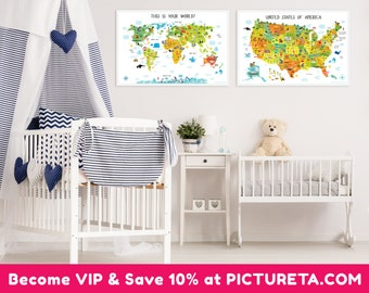 Baby gifts kids world map kids gift unique baby gift first world map and us map baby room decor nursery prints set of 2 gumiabroncs Gallery