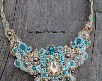 Bridal Soutache Statement Necklace - Soutache Beige Blue Necklace - Hand Embroidered Soutache Jewelry - Soutache Jewelry