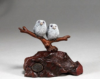 Owlets (owl chicks) Sculpture New Direct from John Perry 5in Wide