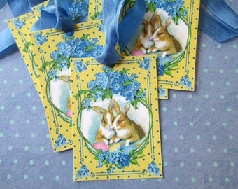 Easter Tags-Two Bunnies-Set of 6