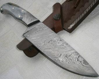 RK-315- Handmade Damascus Steel chef Knife, Bolster & coloured bone handle
