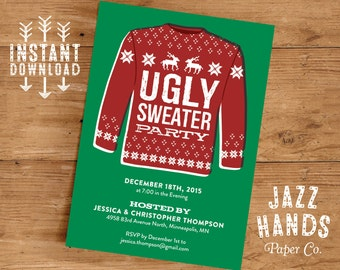 Ugly Sweater Invitation Template | DIY Printable | Holiday Party Invitation | Ugly Christmas Sweater Party Invitation | Tacky Sweater