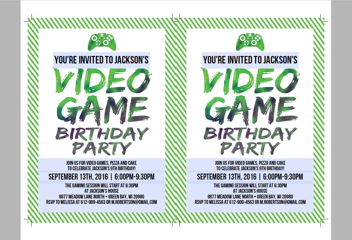 Printable Video Game Birthday Invitation Template DIY Video - Birthday invitation video