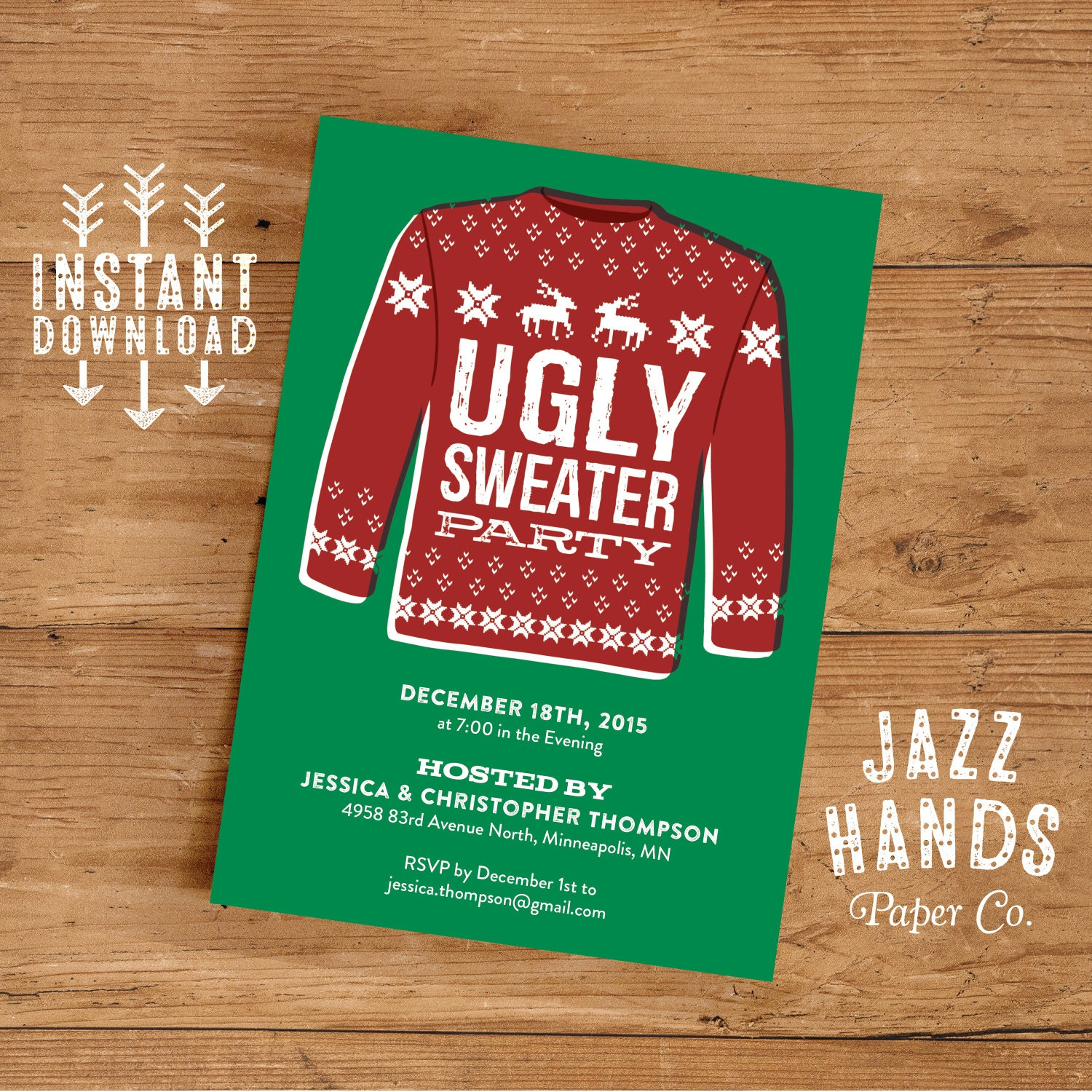 Ugly Sweater Invitation Template DIY Printable Holiday