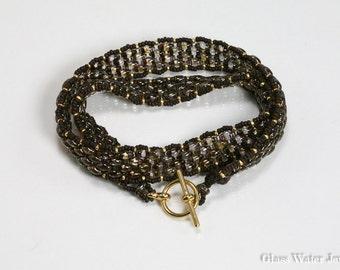 2 wrap, Dark Brown & Gold, Super Duo, Seed Bead Bracelet
