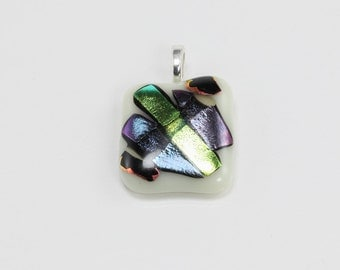 Metallic & White Glass Pendant, Fused Glass Pendant, Square Shaped Pendant