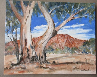 Chambers Gorge Flinders Ranges, Australian Outback painting,  Australian gum tree painting, Acrylic Painting