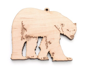 Polar Bear Ornament . American Maple Wood Christmas Ornament Zoo Collection crafted by Nestled Pines Workshop