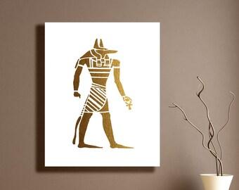 Egyptian Gold White Print Silhouette God Anubis The Jackal Ancient Egyptian Symbol Wall Decor Printable Digital Art / Instant Download