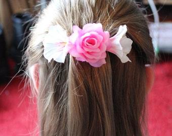 Pink Rose Floral  Hair Barrette
