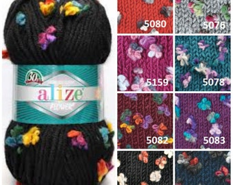 alize Maxi FLOWER yarn, buterfly yarn, fancy yarn, winter yarn, wool flower yarn, bulky yarn, hand knitting yarn, flower yarn, crochet yarn