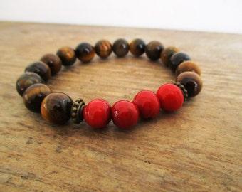 HANDMADE Tiger eye and Red beaded bracelet