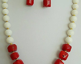 Red and white coral necklace and earrings, silver, jewelry sets
