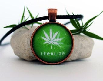 Legalize Marijuana pendant, weed necklace, marijuana jewelry, green necklace