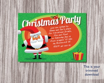 Downloadable Christmas Invitation, Printable Christmas Invitation, Printable Christmas Card, DIY Christmas Card, Christmas Invitation,